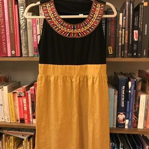 Anthropologie Embroidered Black and Yellow dress